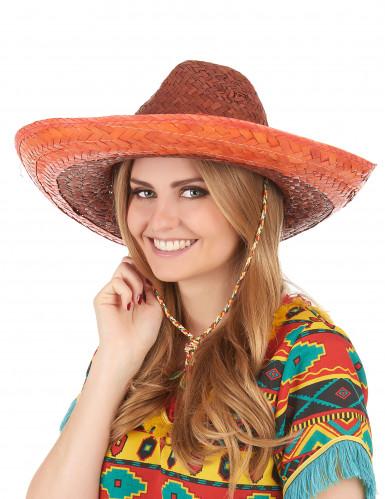 Orangefarvet mexicansk sombrero til voksne-2