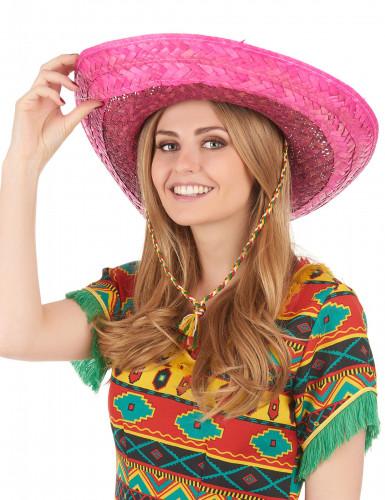 Lyserød mexicansk sombrero til voksne-2