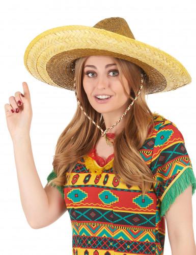 Gul mexicanskinspireret sombrero til voksne-2