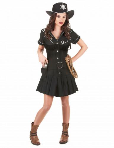 Sort cowgirl-kostume kjole voksen