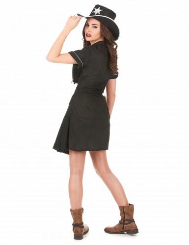 Sort cowgirl-kostume kjole voksen-2
