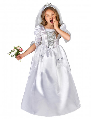 Kostume brudekjole til piger med slør
