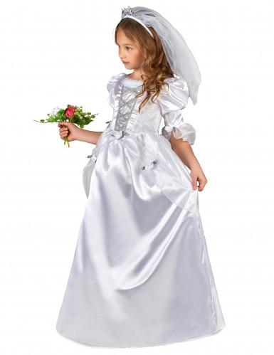 Kostume brudekjole til piger med slør-1