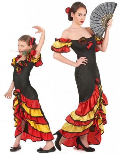 Parkostume flamenco dansere mor og datter