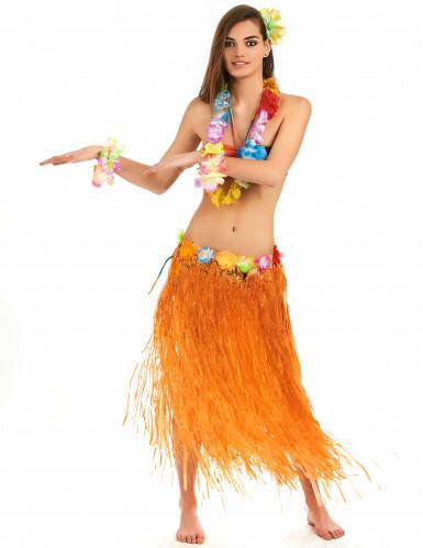 Nederdel Hawaii-skørt lang orange til voksne