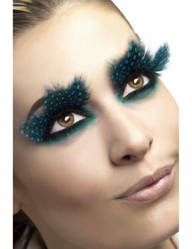 blå-prikkede sorte falske øjenvipper af fjer til voksne