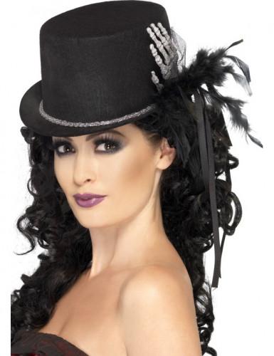 Høj hat i sort med skelethånd og fjer kvinde Halloween