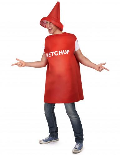 Ketchupflaskedragt med hat til voksne