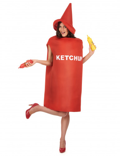 Ketchupflaskedragt med hat til voksne -1