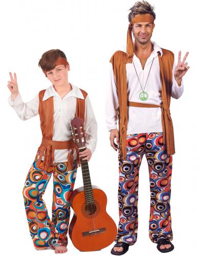 Parkostume hippie til far og søn