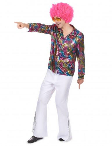 Multifarvet diskoskjorte Voksen-1
