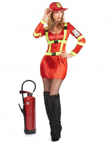 Sexet rødt brandmandskostume til kvinder-1