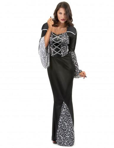 Sort vampyrkjole med mønster til kvinder