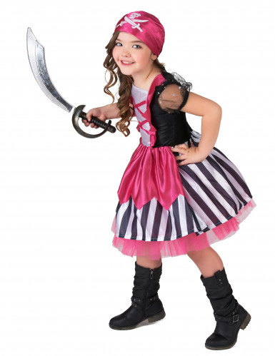 Lyserødt piratkostume pige-1