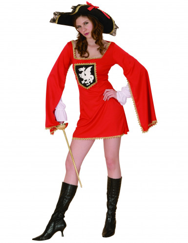 Rødt musketerkostume Kvinde