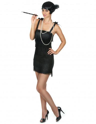 Sort Charlestonkjole med frynser til kvinder-1