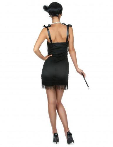 Sort Charlestonkjole med frynser til kvinder-2