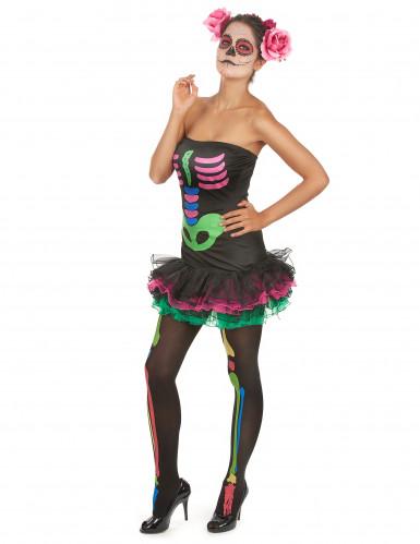 Kostume farvet skelet til kvinder Halloween-2