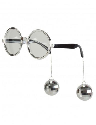Sølvfarvededisco briller voksen
