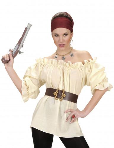 Beige Piratskjorte Kvinde