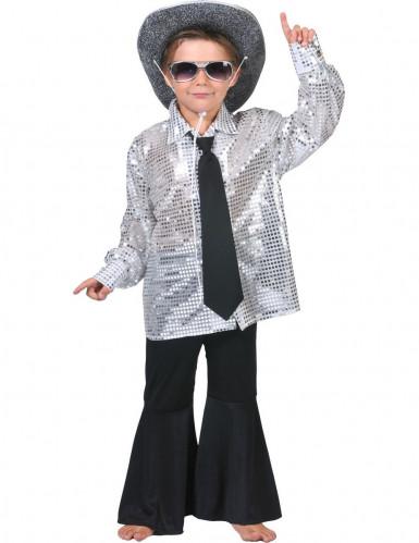 Discoskjorte sølv barn