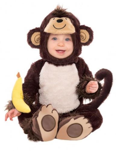 Mørkebrunt abekostume i plys til børn