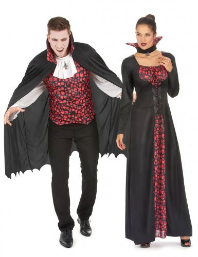 Parkostume vampyr kranie sort og rød