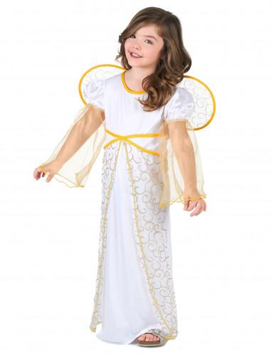 Hvidt og guld englekostume til piger