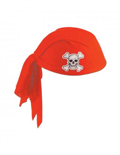 Hat med bandana rød i polyester Pirat voksen