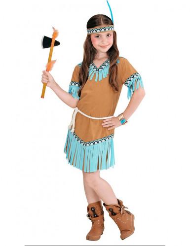 Brun og blå indianer-udklædning pige-1