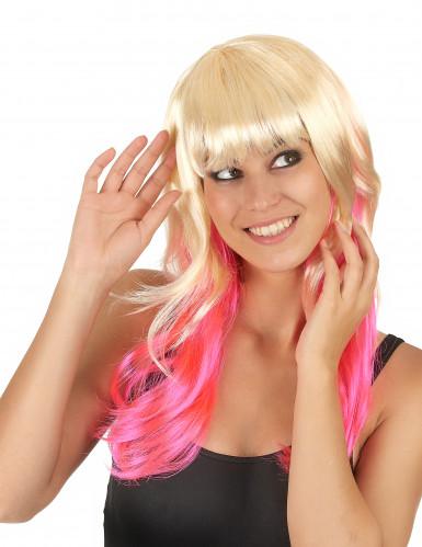 Paryk Tie and Dye Blond og lyserød