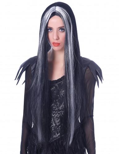 Paryk Sort og Hvid langt hår