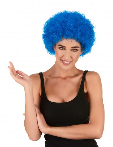 Blå krøllet klovneparyk til voksne