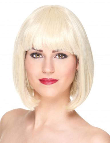 Luksuriøs Kort Blond Bobfrisure Paryk med Pandehår Kvinde