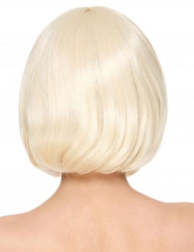 Luksuriøs Kort Blond Bobfrisure Paryk med Pandehår Kvinde-1