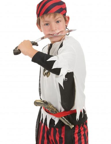 Pirat-sæt i plast med sværd pistol ørering og smykke-vedhæng-1