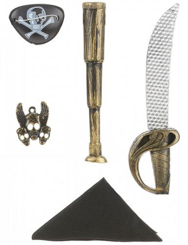 Pirat-sæt i plast med sværd, kikkert, tørklæde, smykke og øjenklap barn