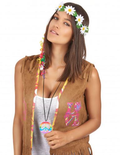 Farverig peace-halskæde hippie-1