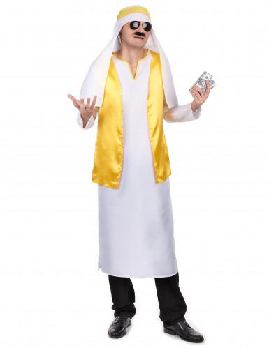Sheikkostume i hvidt og gult herre
