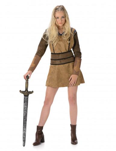 Vikingekostume i brunt Kvinde