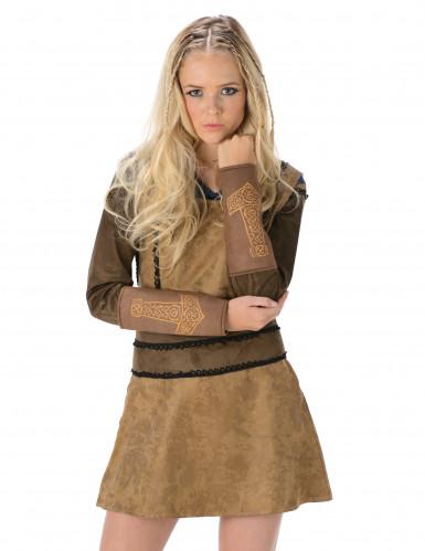 Vikingekostume i brunt Kvinde-1