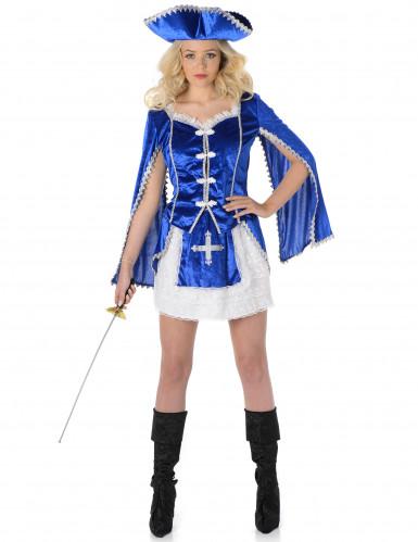 Musketer Kvinde Blå Kostume