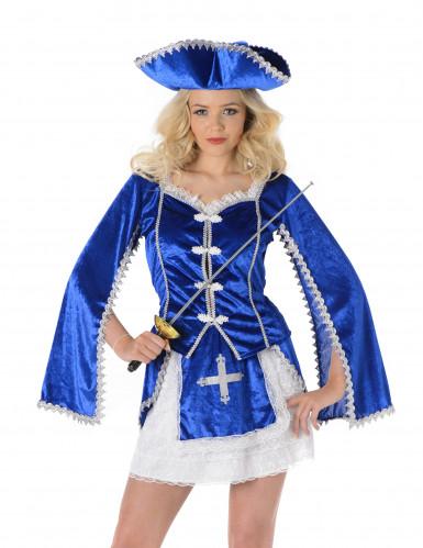 Musketer Kvinde Blå Kostume-1