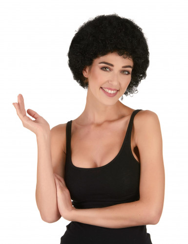 Sort paryk med krøller standard til voksne