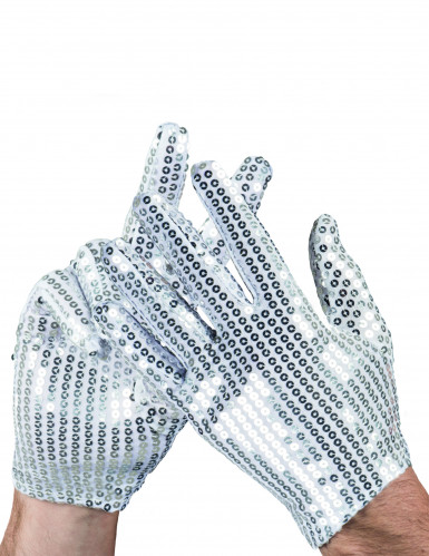 Hansker med sølvpailletter til voksne
