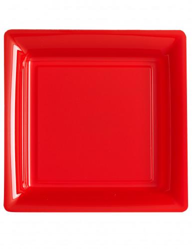 Tallerkener 12 stk. firkantet røde 23.5 cm