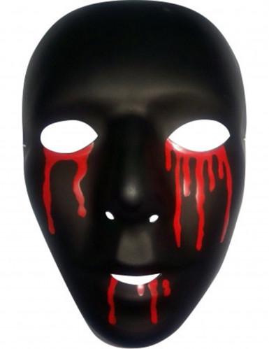 Maske Halloween sort med tårer af blod til mænd