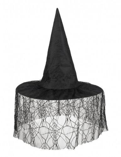 Heksehat sort med spindelvæv til kvinder-1