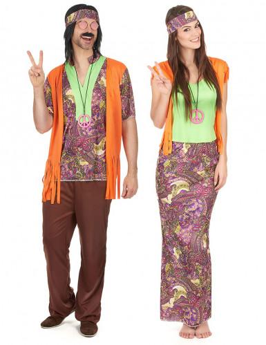 Par kostume hippie orange til voksne