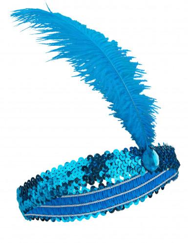 Charleston pandebånd med fjer blå
